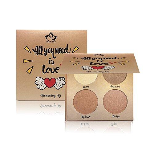Glow Kit 4 Color Illuminator Love Light Highlighter & Bronzer Shimmer Face Matte Palette