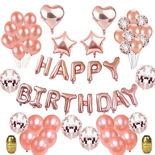 Herefun Decoración Cumpleaños, Fiesta Globos Decoración Oro rosa Niñas Inflable HAPPY BIRTHDAY Banner Metálicas de Corazón de la Estrella Confeti Globos de Látex para Fiesta de cumpleaños, Baby Shower