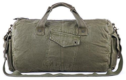 Gootium Unisex-Adult leinwand seesack - Vintage Reise-Taschen Wochenende Holdall sportsporttasche groß armeegrün