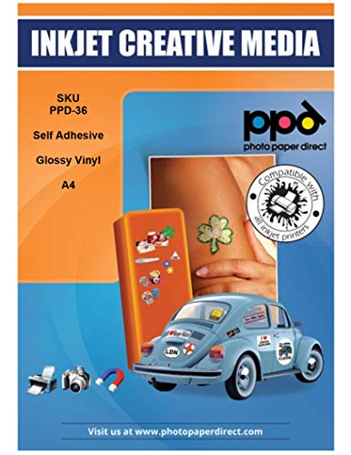 PPD A4 x 20 Pegatinas de Vinilo Autoadhesivo Brillante Imprimibles de Grado Comercial - Secado Instantáneo y A Prueba de Desgarro - Para Impresora de Inyección de Tinta Inkjet - PPD-36-20