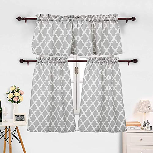 3 Pieces Kitchen Curtains Set Moroccan Cotton Blend Kitchen Cafe Tier Curtains and Valance Geometric Printed Print Rod Pocket Small Window Curtain for Bathroom Grey (Set of 2 Panels 36' L Tiers)