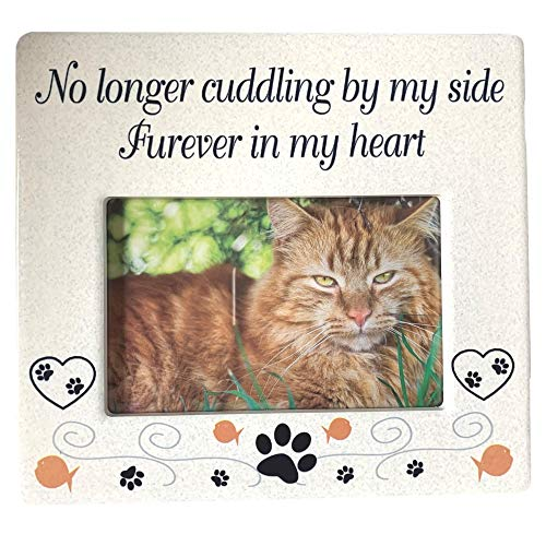 BANBERRY DESIGNS Cat Memorial Ceramic Picture Frame - No Longer Cuddling by My Side Furever in My Heart - Loss of a Pet Gift - Pet Photo Frame - Pet Sympathy Gift - in Memory of a Pet