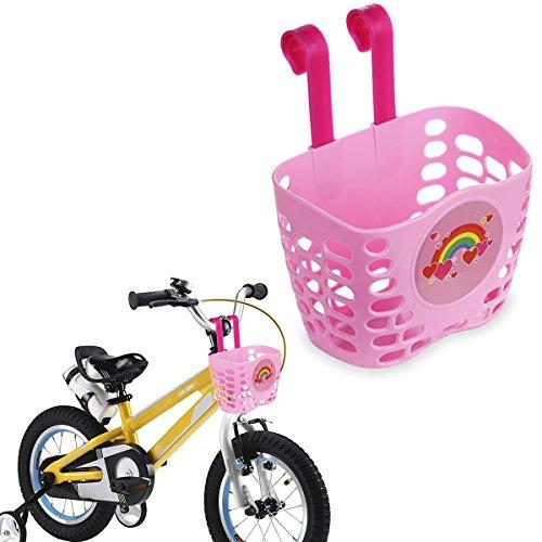 MINI-FACTORY Kid s Bike Basket Pink Cute Love Rainbow Pattern Bicycle Handlebar Basket for Girls