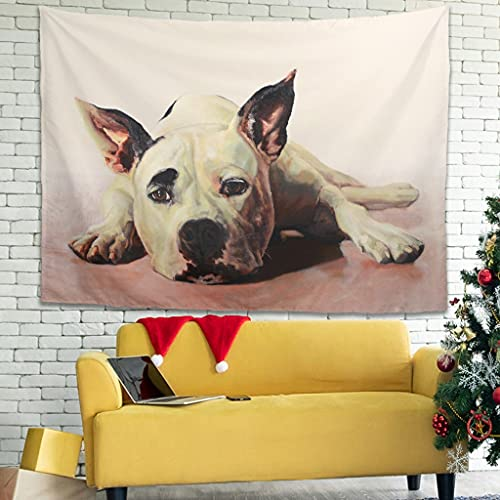 Facbalaign Tired Dog Puppy Tapestry Polyester Fibre Soft Painting Decoration Living Room Bedroom Dorm White 200 x 150 cm