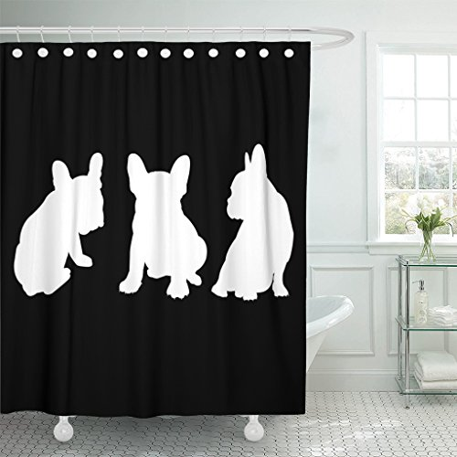 Emvency Shower Curtain Brown Dog Breed Cute Pet Animal Bulldog French Gray Waterproof Polyester Fabric 60 x 72 inches Set with Hooks