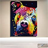 Rjunjie Abstrakte Hund Wand Kunst nachdenklich Pitbull