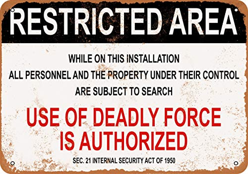Wall-Color 9 x 12 Metal Sign - Military Use of Deadly Force is Authorized - Vintage Look