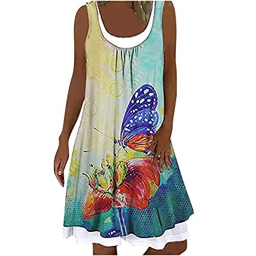Damen Sommer Casual Lang Strandkleid Rundhals Kurzes Blume Drucken Ärmellos Bedrucktes Gefälschtes Zweiteiliges Kleid Elegant Sommerkleid Frauen Lang Maxikleider Casual Lose Kleid Shift Dress