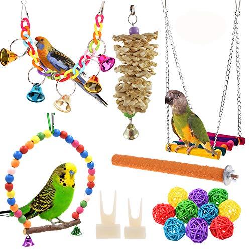 Anteer 12 Packs Bird Parrot Swing Chewing Toys - Hanging...
