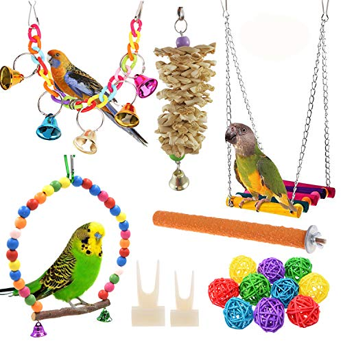 Anteer 12 Packs Bird Parrot Swing Chewing Toys - Hanging Bell Birds Cage Toys Suitable for Small...
