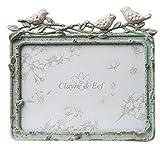 Clayre und Eef 2F0395 Bilderrahmen/Fotorahmen grün mit Vögel 14 x12cm Bild/Gemäldeerrahmen Blüten Landhaus