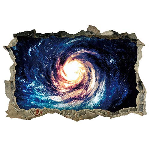 """Dnven (27""""w x 19""""h) Galaxy Waves Space Porthole Window Milky Way Galaxy 3d Window View Wall Arts Decals Decors Removable Stickers Galaxy Space Planet"""