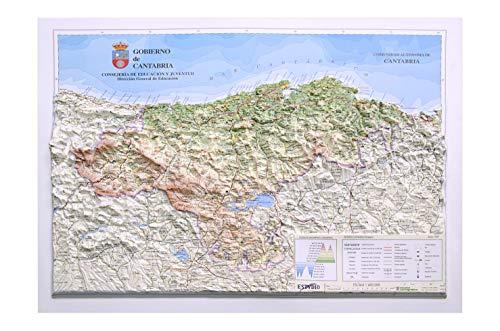 Mapa en relieve de Cantabria: Escala 1:400.000