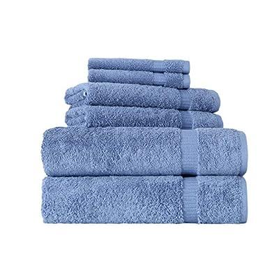 SALBAKOS 6 Piece Bath Towel Set - Turkish Luxury Hotel & Spa Collection - OEKO-TEX Organic - Eco-Friendly Turkish Cotton (Blue)