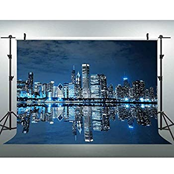 EOA 7 W  x5 H  FT Chicago Skyline Downtown Night Scene Backdrop US City Illinois Windy City Background Business Portrait YouTube Wall Banner Studio Props