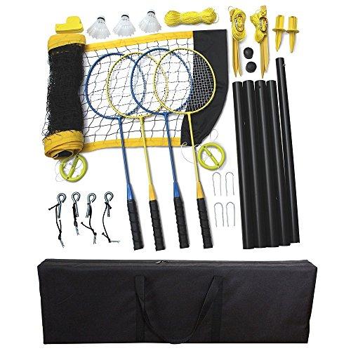 Driveway Games Portable Badminton Set 4 Rackets, 3 Birdies & Net Kit (CLBDMT-00151)