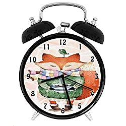 Animal, Cute Little Fox and Bird on His Head Tea Time Kids Nursery Friends Baby Theme, Green Orange Twin Bell Alarm Clock with Backlight,Desk Table Clock for Home and Office 4in - Black