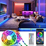 65.6ft Smart RGB LED Strip Lights Kit, Music Sync WiFi Tape Light with APP and 44Key Remote, 12V 20m Flexible Strip 5050, Dimmable Color Changing, Decoration for Indoor Living Room Bar Party Lighting
