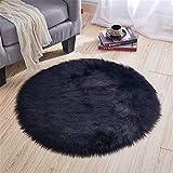La imitación de lana gris alfombra redonda silla de la computadora de felpa dormitorio de la estera colgando ventana alfombra cesta de la decoración de la alfombra arrastrándose alfombra dormitorio al