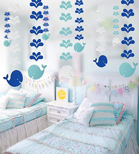 Blue Whale Hanging Paper Decoration (6pcs) - Ocean Theme Hanging Paper Party Streamers for Kids Bedroom Decoration, Ocean Sea Life Ceiling Paper for Baby Shower Party Supplies