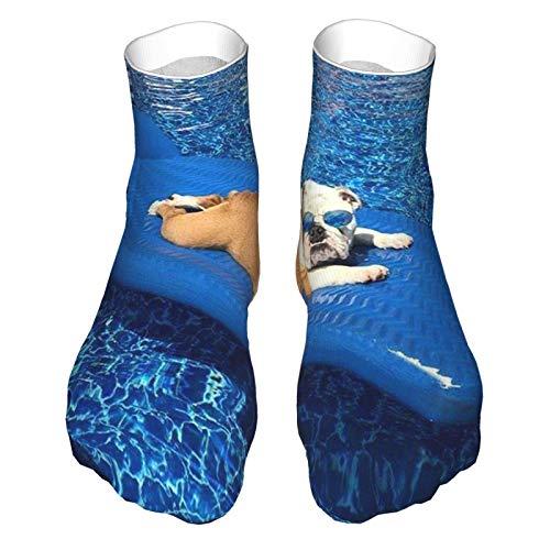 Calcetines de corte bajo que absorben la humedad ocasionales calcetines de tobillo divertidos locos inglés bulldog tomar el sol en la piscina calcetines de regalo impresos