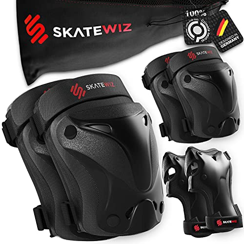SKATEWIZ Protect-1 - Tamaño M en Negro - Rodillo Freestyle para niños - protección de Skate Infantil - protección de Patines - patín de Mujer Adulto