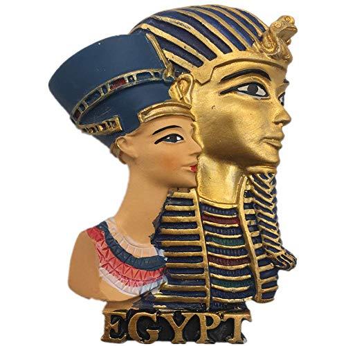 Weekinglo Souvenir Tutankamon Cleopatra El Cairo Egipto Imán de Nevera Resina 3D Artesanía Hecha A Mano Turista Ciudad de Recuerdos de Recuerdos Carta de Refrigerador Etiqueta