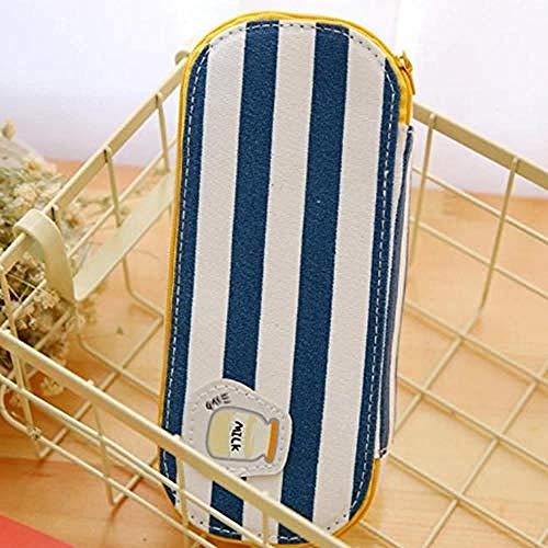 Canvas Potlood geval om te versieren Grid Checks Strepen Ontbijt Canvas Grote Capaciteit School Potlood Case Potlood Tas Kawaii Pen Box Cosmetische Tas