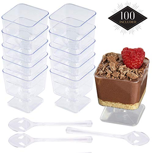 100 Einweg Plastik Dessertbecher, Transparent 60ml, mit 100 Löffeln - Stabile & Mehrweg - Dessertschalen Dessertgläser aus Kunststoff für Mousse Fingerfood Nachtisch Partys Geburtstage Hochzeiten.