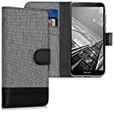 kwmobile Huawei Honor 7S Hülle - Kunstleder Wallet Case für Huawei Honor 7S mit Kartenfächern & Stand - Grau Schwarz