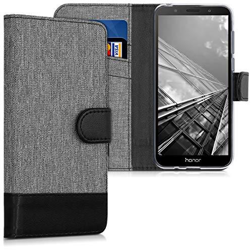 Preisvergleich Produktbild kwmobile Huawei Honor 7S Hülle - Kunstleder Wallet Case für Huawei Honor 7S mit Kartenfächern und Stand - Grau Schwarz