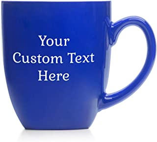 Engraved Personalized Create Your Own Coffee Mug (Blue) - Large Personalized Coffee Mug, Custom Oversized Coffee Mug, Personalized Mug with Text