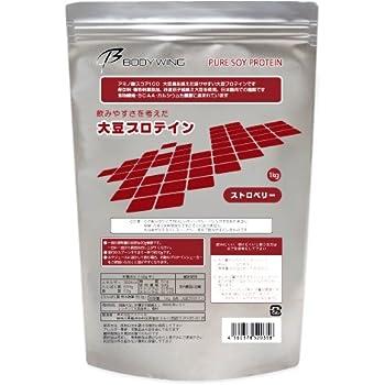 ボディウイング 大豆プロテイン ストロベリー 飲みやすいソイプロテイン (1kg)