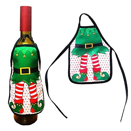 JJFU Schort Koken Schort 1Pc Resuable Kerstman Kerstmis Kerstavond Wijnfles Beschermer Cover Voor Kerstmis Decoratie Opbergen Wijn Ktv