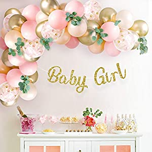 ALL-IN-ONE DECORATION KIT INCLUDES: 60 mixed balloons for garland, pre-strung glittering gold Baby Girl banner, artificial eucalyptus green stems, garland tape, balloon tie tool, glue dots, string FESTIVE AND OH SO CUTE: Add a bright pop of pink and ...