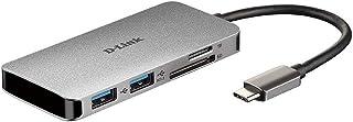 D-Link DUB-M610 Hub USB di Tipo C 6 in 1, Adattatore USB C con HDMI 4K e 1080 p, 2 Porte USB 3.0 e USB 2.0, Lettore di Sch...