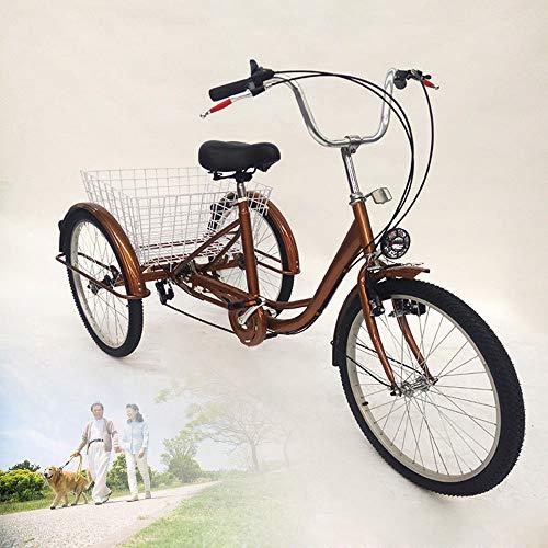 Wupyi2018 61 cm Dreirad für Erwachsene, 3 Räder, 6 Gänge, Einkaufs-Dreirad mit Einkaufskorb
