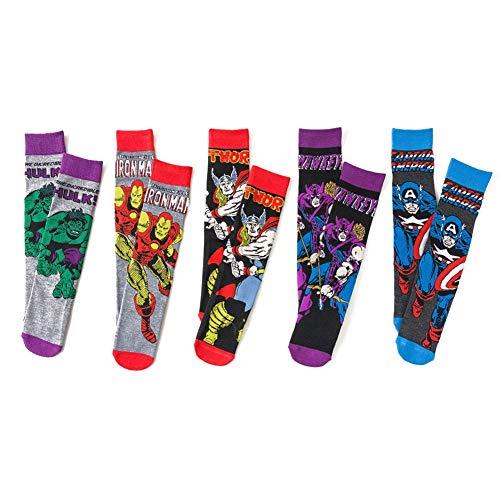 Liying 5 Paires - Superhero Chaussettes, Anime Moive Coton Scoks for Hommes et Femmes (Color : Color, Size : Size)