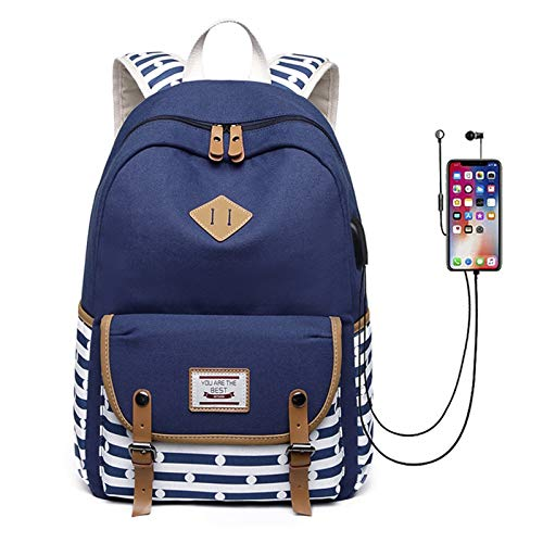 HFQJTU Laptop Backpack For Women Fits 15.6 Inch With USB Charging Port,Durable Water Resistant Casual Daypack Laptop Backpack For Women/Girls/Travel/Business (Color : Dark Blue)