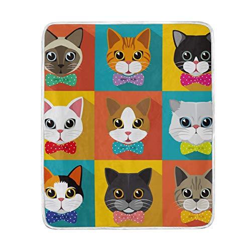 CPYang Überwurfdecke mit niedlichem Katzenmotiv aus weicher Mikrofaser, ideal als Reisebett, Sofa, 127 x 152 cm, für Kinder, Jungen, Mädchen, Damen und Herren