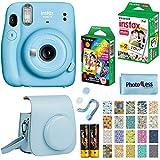 Fujifilm Instax Mini 11 Instant Camera - Sky Blue (16654762) + Fujifilm Instax Mini Twin Pack Instant Film (16437396) + Single Pack Rainbow Film + Case + Travel Stickers
