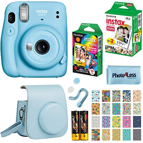 Fujifilm Instax Mini 11 Instant Camera - Sky Blue (16654762) + Fujifilm Instax Mini Twin Pack Instant Film (16437396) + Single Pack Rainbow Film + Case + Travel Stickers
