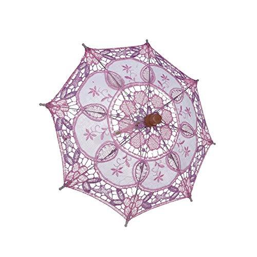 ChYoung Spitzenschirm Sonnenschirm Mit Holzgriff, Dekoration Regenschirm Fotografie Prop Regenschirm Party Kostüm Zubehör Cosplay Requisiten Für Kinder