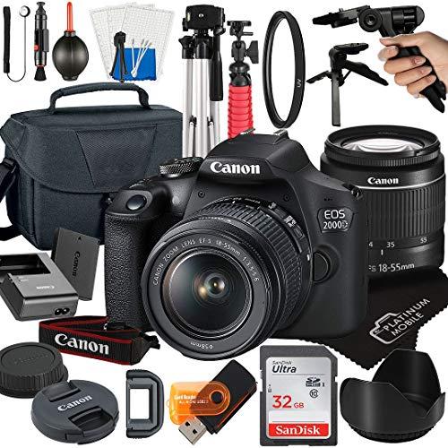 Canon EOS 2000D   Rebel T7 DSLR Camera with 18-55mm Zoom Lens + Platinum Mobile Accessory Bundle Package Includes: SanDisk 32GB Card, Tripod, Case, Pistol Grip and More (21pc Bundle)