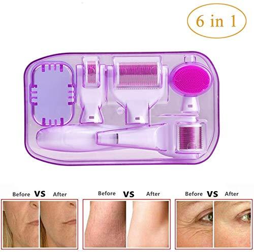 HWXDH Rodillo masajeador Facial Antiarrugas con microagujas 6 en 1, Rodillo Derma para el Cuidado Facial con microagujas Hechas de microagujas de Acero Inoxidable, Rosa