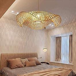 Lustres Lampe Suspension Vintage Tissé Pendentif Bambou Naturel Rotin Lampe À La Main Garden Applique Murale E27 Hauteur…