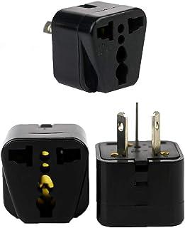 Flash Travel Adapter, Pack of 3, UK EU US to Australia Adapter, Dual Socket Insulated Pins, International Power Adapter-Black