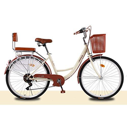 BEIGOO Aluminum Comfort Bike,24''26'' Commuter Bike Hybrid Bike for Women 6 Speeds Derailleur, Front & Seat Suspension, Adjustable Seat & Handlebar-3B-24inch