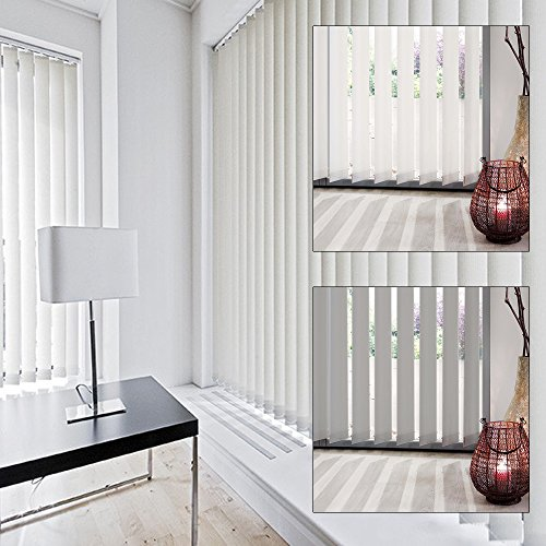Klöckner Schiebevorhang Vertikal-Jalousien Lamellenvorhang Schiebegardine Vorhang 89 mm (100 x 260 cm, weiß)