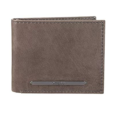 Guess Men's RFID Security Blocking Leather Wallet, Grey, One Size
